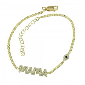 Bracelet of Silver 925 Mommy with eye motif Yellow gold plated Code 007904