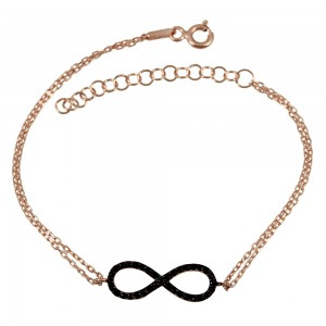 Bracelet of 925 Silver Infinity Pink gold plated Code 007919