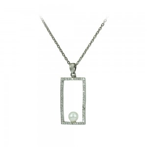 Necklace of Silver 925 shape White gold plated Code 007921