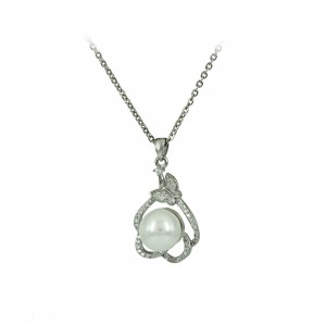 Necklace of Silver 925 shape White gold plated Code 007922