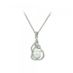 Necklace of Silver 925 shape White gold plated Code 007923