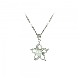 Necklace of Silver 925 shape Flower White gold plated Code 007924