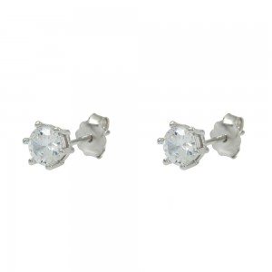 Earrings of Silver 925 White gold plated Code 008290