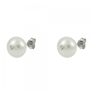 Earrings of Silver 925 with zircon White gold plated Code 008422