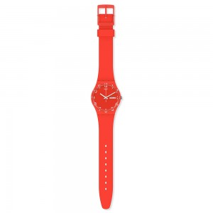 Swatch Gent Over Red GR713 Red color Rubber Strap