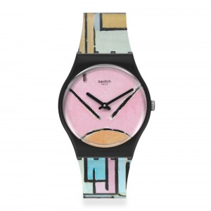 Swatch Gent MoMA Cmpositon in oval with color planes 1 by Piet Mondrian, The Watch GZ350 Rubber strap