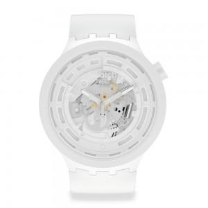Swatch Big Bold Next C-White SB03W100 Quartz Bioceramic strap and frame White color