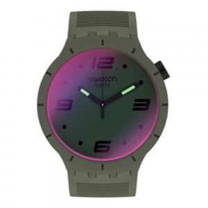 Swatch Big Bold Futuristic Khaki SO27M105 Khaki Rubber Strap Dial with photochromic coating