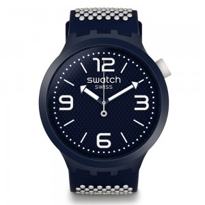 Swatch Big Bold SO27N101 White and blue Rubber Strap