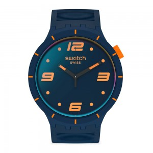 Swatch Big Bold Futuristic Blue SO27N110 Black Rubber Strap Dial with photochromic coating