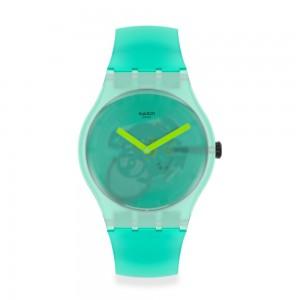 Swatch New Gent Nature Blur SUOG119 Transparent rubber strap in mint color
