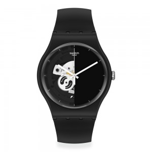 Swatch Live Time Black SO32B107 Quartz Bioceramic Black organic strap