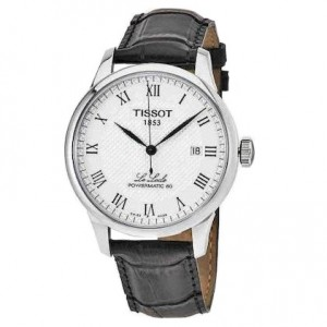 TISSOT Le Locle Powermatic 80 T006.407.16.033.00 Stainless steel Black leather strap Latin numbered