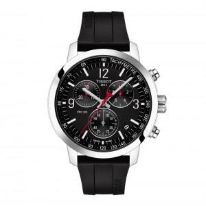 Tissot PRC 200 Chronograph T114.417.17.057.00 Quartz  chronograph Stainless steel Black rubber strap Black color dial