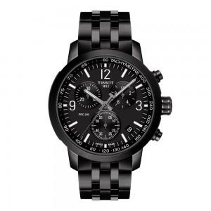 Tissot PRC 200 Chronograph T114.417.33.057.00 Quartz chronograph Stainless steel Bracelet Black color dial