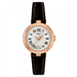 Tissot Bellissima small Lady T126.010.36.013.00 Quartz Plated stainless steel Brown leather strap Beige color dial Latin numbered