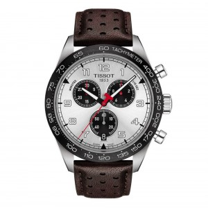 Tissot PRS 516 Quartz Chronograph T131.617.16.032.00 Stainless steel Brown leather strap White color dial