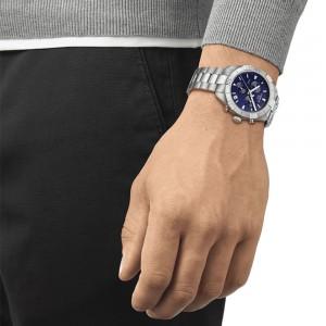 Tissot PR 100 Spor Gent T101.617.11.041.00  Quartz chronograph Stainless steel Bracelet Blue color dial