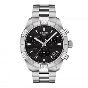 Tissot PR 100 Spor Gent T101.617.11.051.00  Quartz chronograph Stainless steel Bracelet Black color dial