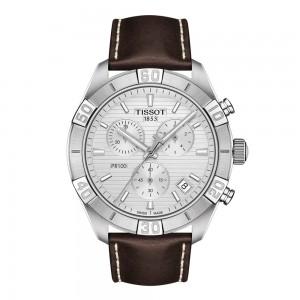 Tissot PR 100 Spor Gent T101.617.16.031.00 Quartz chronograph Stainless steel Brown color leather Silver color dial