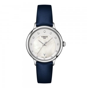 Tissot T-Lady T133.210.16.116.00 Quartz Stainless steel Blue leather strap White color mothel of pearl dial Diamonds