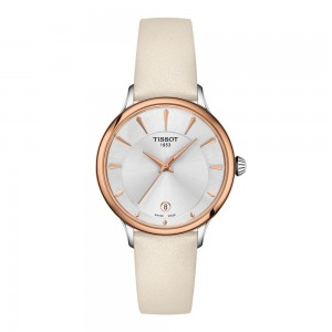 Tissot T-Lady T133.210.26.031.00 Quartz Stainless steel Pink leather strap White color mothel of pearl dial