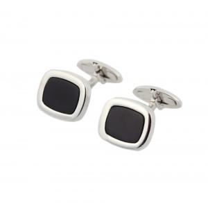 Men's cufflinks White gold Κ14 with onyx Code 005160