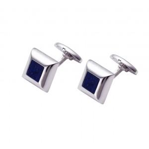 Men's cufflinks White gold Κ14 with Sodalite Code 005426