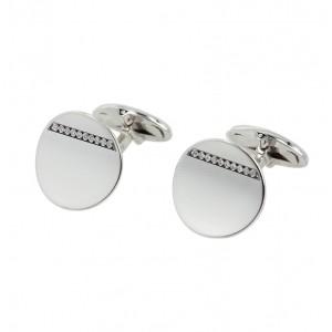 Men's cufflinks White gold Κ14 with diamonds Code 005429