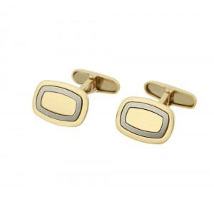 Men's cufflinks White and yellow gold Κ14 Code 005434
