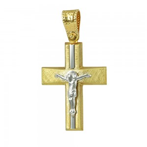 Men's cross Aneli collection K14 006971 White and yellow gold