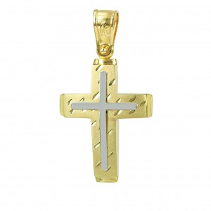 Men's cross Aneli collection K14 006972 White and yellow gold