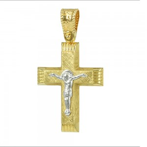Men's cross Aneli collection K14 006973 White and yellow gold