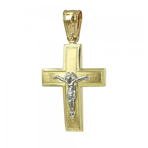 Men's cross Aneli collection K14 006974 White and yellow gold