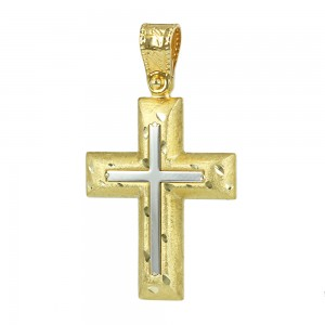 Men's cross Aneli collection K14 006975 White and yellow gold