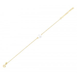 Bracelet  Yellow gold K14 with diamond and pearl Code 006042