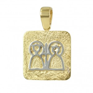 Christian pendant Yellow and white gold K14 Code 006635