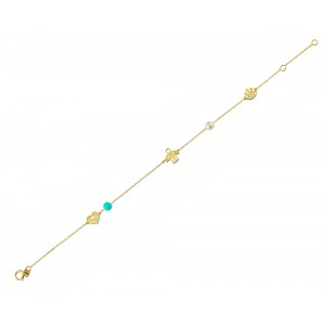 Bracelet for baby girl K14 006045 with pearl and turquoise Yellow gold