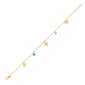 Bracelet for baby girl Pink gold K14 with pearl and turquoise Code 006052