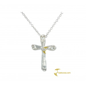 Woman's cross pendant  with chain, K14 and semiprecious stones 003113
