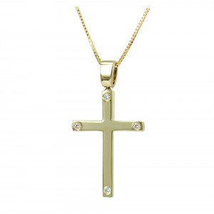 Woman's cross pendant  with chain, K14 and diamonds 006778 Yellow gold