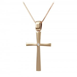 Woman's cross pendant  with chain, K14 and diamonds 006780 Pink gold
