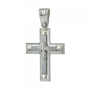 Women's cross Aneli collection K14 006955 white gold with zircon