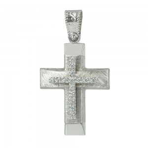 Women's cross Aneli collection K14 006959 white gold with zircon