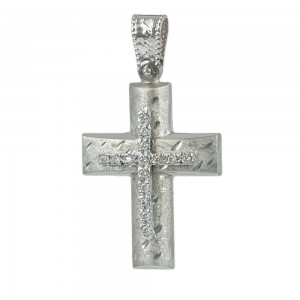 Women's cross Aneli collection K14 006960 white gold with zircon