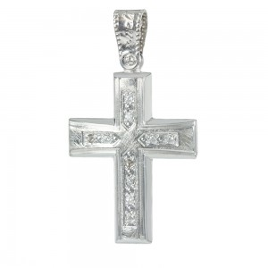 Women's cross Aneli collection K14 006961 white gold with zircon
