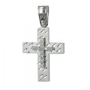 Women's cross Aneli collection K14 006962 white gold with zircon