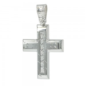 Women's cross Aneli collection K14 006963 white gold with zircon