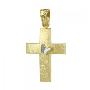 Women's cross Aneli collection K14 006976 yellow and white gold with zircon