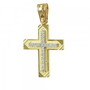 Women's cross Aneli collection K14 006979 yellow and white gold with zircon
